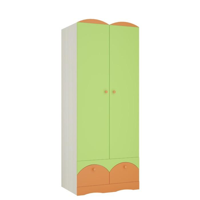 Шкаф 2х дверный Карамель 2, 800х540х2000, Бодега светлый/Зеленый/Оранж