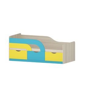 Кровать Карамель, 1842х862х750, Ясень шимо светлый/Желтый/Бирюза