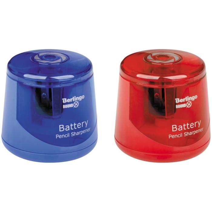 Точилка электрическая 1 отверстие Berlingo RoundX, круглая, с контейнером, упаковка ПВХ, европодвес