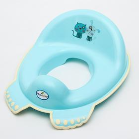 Накладка на унитаз «КОТ и ПЁС», нескользящая, цвет голубой