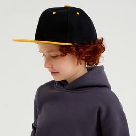 Baseball cap with a straight visor for a boy MINAKU, size 54, black/yellow