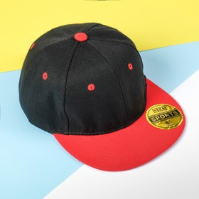 Baseball cap with a straight visor for a boy MINAKU, size 54, black/red