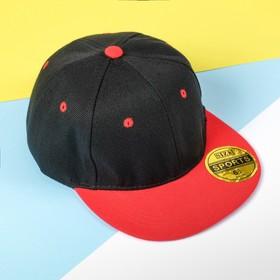 Бейсболка с прямым козырьком для мальчика MINAKU, размер 54, цвет чёрный/красный