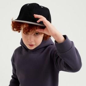 Baseball cap with a straight visor for a boy MINAKU, size 54, black/grey
