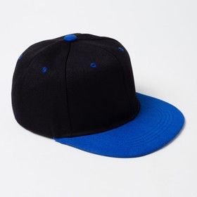 Baseball cap with a straight visor for a boy MINAKU, size 54, color is black/blue