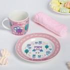 Набор детской посуды «Самая прелестная»: кружка 250 мл, тарелка Ø 17 см, полотенце 15 × 15 см - фото 105459336