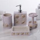Набор аксессуаров для ванной комнаты «Море», 4 предмета (дозатор 300 мл, мыльница, 2 стакана) - фото 7930113