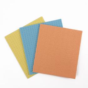 Салфетки для влажной уборки губчатые 15×17 см, целлюлоза, 3 шт