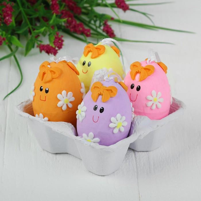 Яйца - подвески для декорирования «Рожицы с цветочками», набор 4 шт, размер 1 шт: 6×4,5 см