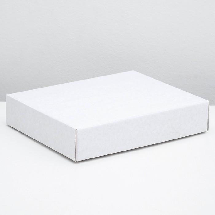 Коробка сборная без печати крышка-дно белая без окна 29 х 23,5 х 6 см - фото 308009712