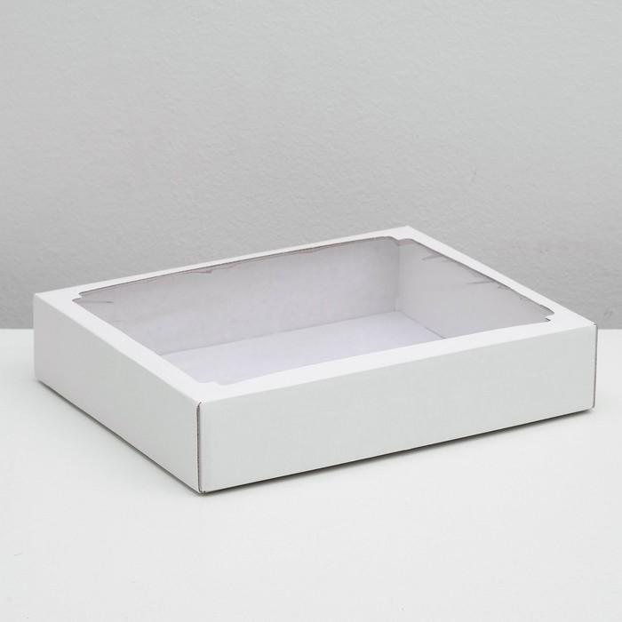 Коробка сборная без печати крышка-дно белая с окном 29 х 23,5 х 6 см