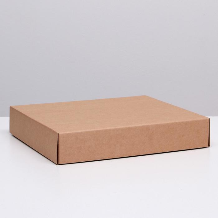 Коробка сборная без печати крышка-дно бурая без окна 37 х 32 х 7 см