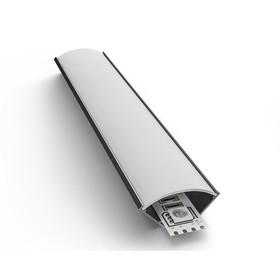 Профиль алюминиевый угловой накладной 08-08, для светод. ленты, широкий, с рассеивателем, 1м