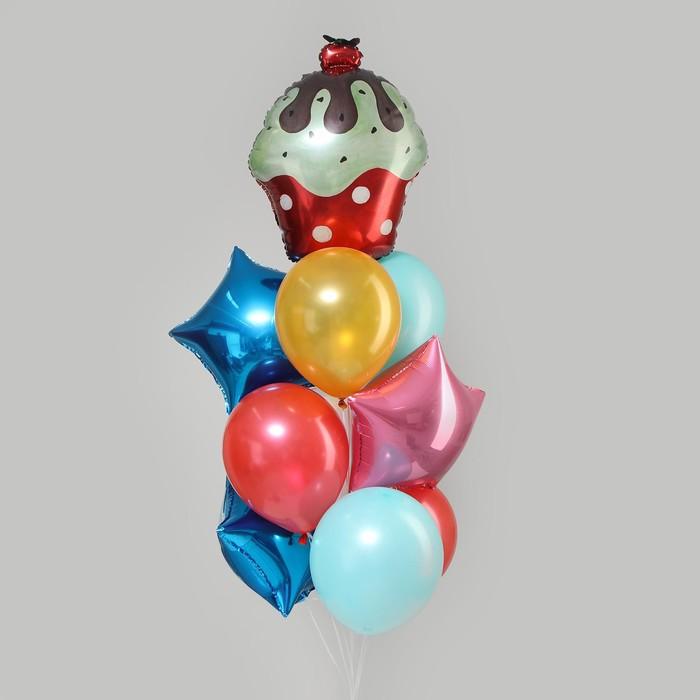 """Букет из шаров """"С днем рождения, торт с вишенкой"""", латекс, фольга, набор 10 шт. - фото 308473017"""