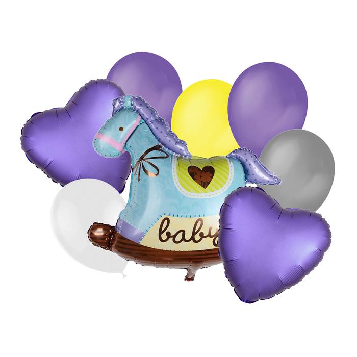 """Букет из шаров """"Лошадка"""", латекс, фольга, набор 9 шт."""