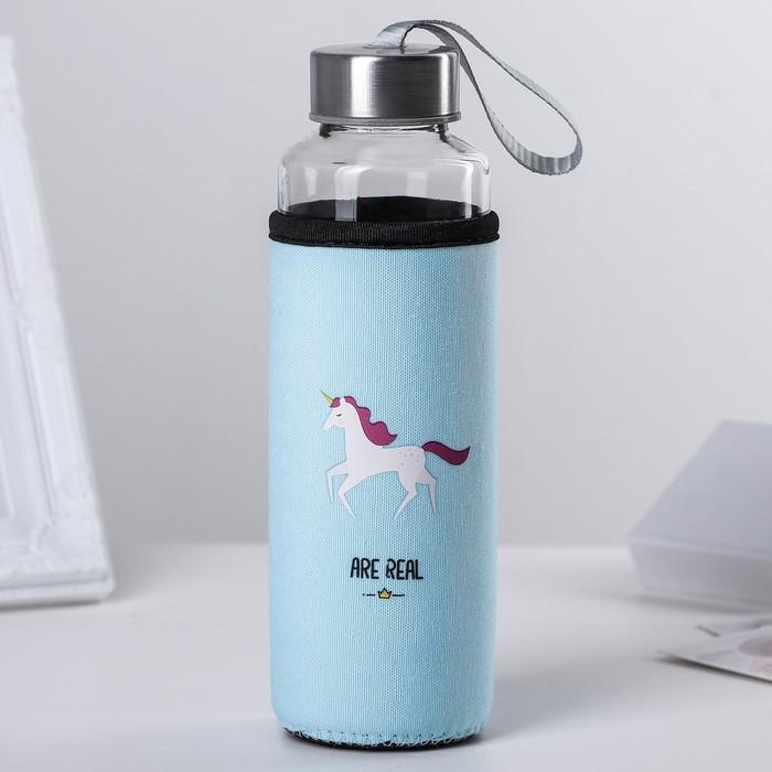 "Бутылка в чехле 400 мл ""Единорог"", рисунок МИКС"