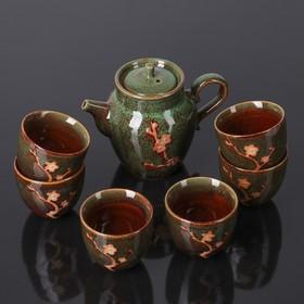 """Набор для чайной церемонии """"Цветок"""", 7 предметов: чайник 200 мл, чашка 90 мл, цвет зелёный"""