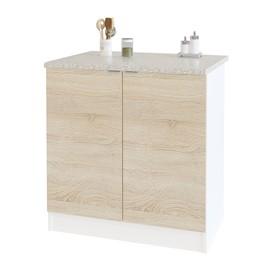 Стол с полками, 800 × 600 × 850 мм, цвет белый/дуб сонома