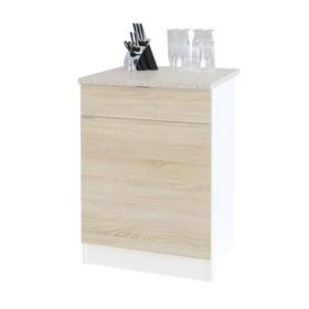 Стол с ящиками, 600 × 600 × 850 мм, цвет белый/дуб сонома