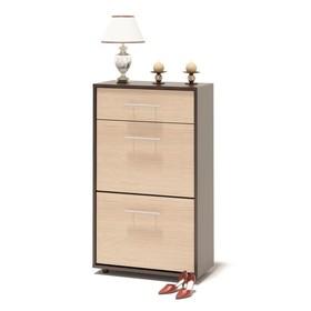 Обувница, 600 × 287 × 1043 мм, цвет корпус венге/фасад белёный дуб