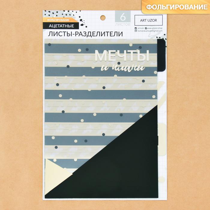 Набор ацетатных разделителей для планера «Чёрно-белое настроение», 16 × 25 см, 6 листов