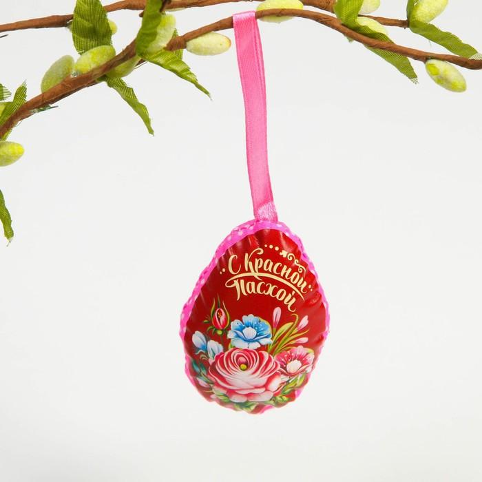 Пасхальный сувенир на ленте «С Красной Пасхой» (цветы), 6 × 8 см