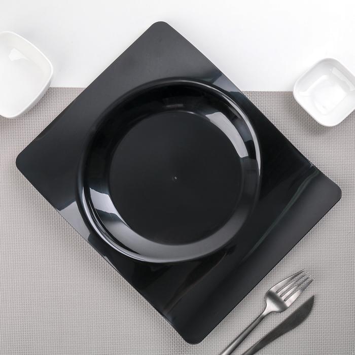 """Тарелка прямоугольная 28х23 см """"Волна"""", 6 шт/уп, цвет чёрный"""