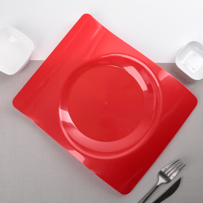 "Тарелка прямоугольная 28х23 см ""Волна"", 6 шт/уп, цвет алый"
