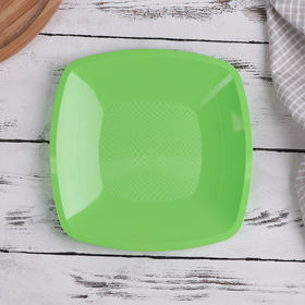Тарелка квадратная плоская, 18 см, цвет МИКС, 6 шт/уп
