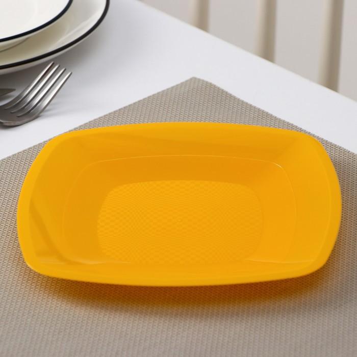 Тарелка квадратная плоская 18 см, ПП 6 шт/уп, цвет МИКС