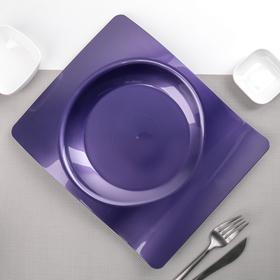 """Тарелка прямоугольная 28х23 см """"Волна"""", 6 шт/уп, цвет сиреневый"""