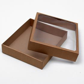 Team box without printing cover-bottom brown with window 37 x 32 x 7 cm