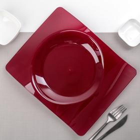 """Тарелка прямоугольная 28х23 см """"Волна"""", 6 шт/уп, цвет бордовый"""