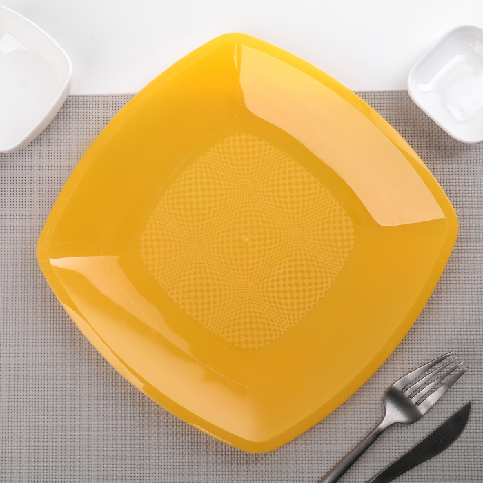 Тарелка квадратная плоская 23 см, 6 шт/уп, цвет МИКС