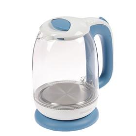 Чайник электрический ENERGY E-281, стекло, 1.7 л, 1850 Вт, подсветка, бело-голубой