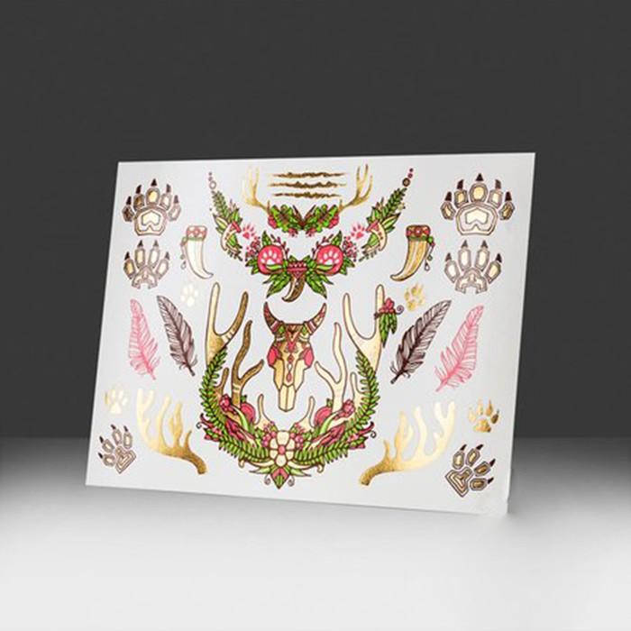 """Татуировка металлизированная """"Золотой лес, Лесной олень"""" 210 х 150 мм"""