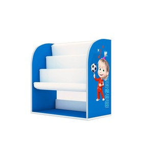 Стеллаж детский книжный Polini kids Fun 800 «Маша и Медведь», с текстил. полками, цвет синий   42445