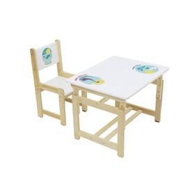 Комплект растущей детской мебели Polini kids Eco 400 SM, «Дино», 68 х 55 см,  белый-натур.