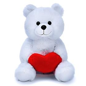 Мягкая игрушка «Медведь Вельвет» с валентинкой, 30 см, цвет белый