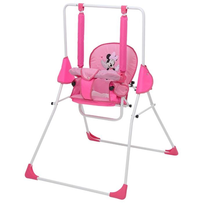 Качели напольные Polini kids Disney baby «Минни Маус», с вышивкой, цвет розовый
