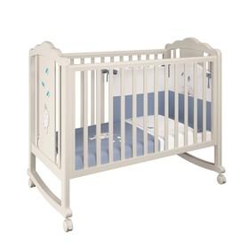 Детская кроватка Polini kids Classic 621 «Зайки», цвет бежевый-синий капри