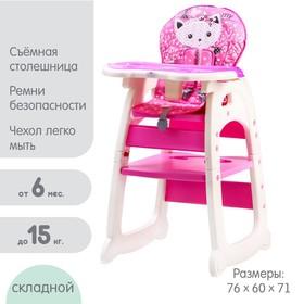 Стульчик для кормления Polini kids 460, цвет розовый