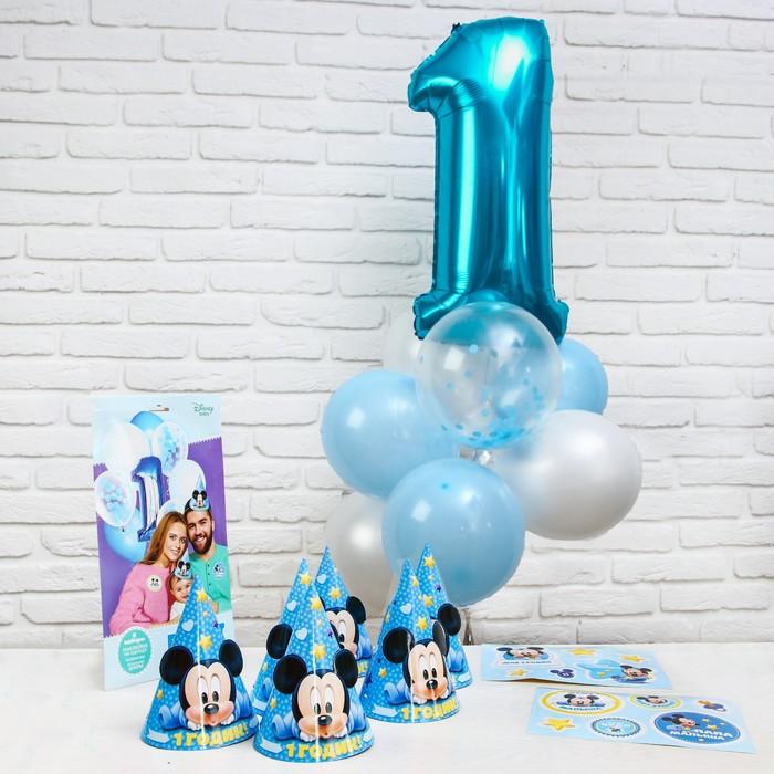Набор для оформления праздника «Baby» + колпачки, наклейки, Микки Маус