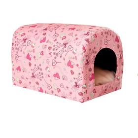 Домик-тоннель Сердечки, ткань оксфорд, 35 х 26 х 26 см, розовый