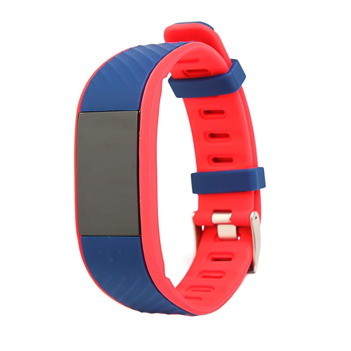 Фитнес браслет Qumann QSB 12, цвет дисп, оповещения, будильник, шагомер, темно синий-красный