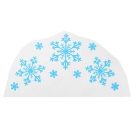 "Термонаклейка на кокошник ""Три снежинки"", синяя с серебром"