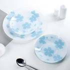 Набор тарелок «Флорин», 7 предметов, цвет бело-голубой