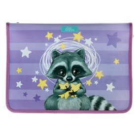 "Folder for A4 work, zip around, folding strap, colored plastic Calligrata ""Raccoon"""