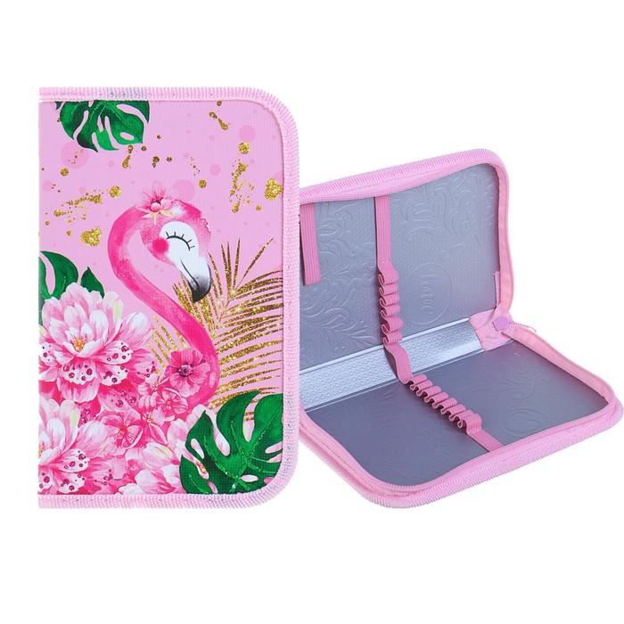 Пенал 1 секция, 115 х 190 х 30 мм, ламинированный картон Calligrata «Розовый фламинго»