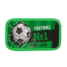"""Пенал 3 секции 105 x 190 мм, ламинированный картон, тканевый торец Calligrata """"Футбол"""""""